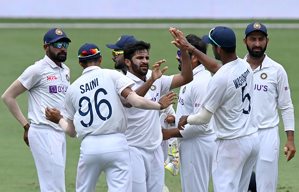 Shardul Thakur celebrates a wicket during the Test series against Australia | Getty