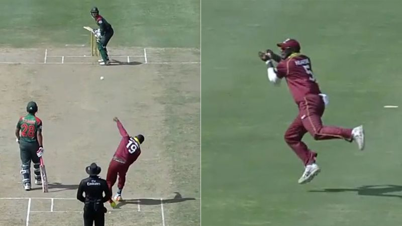 WATCH: West Indies pacer Sheldon Cottrell produces a bizarre delivery, ball lands at second slip