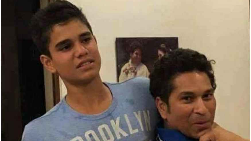 Sachin Tendulkar reacts after Arjun Tendulkar gets picked to play for India U-19