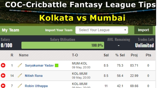 Fantasy Tips - Kolkata vs Mumbai on May 9