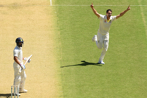 Pat Cummins celebrates wicket of Virat Kohli | Getty Images