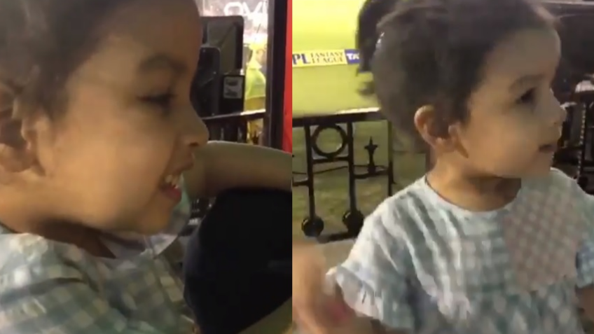 WATCH: Ziva Dhoni shows an urge to hug MS Dhoni during CSK's chase against KXIP