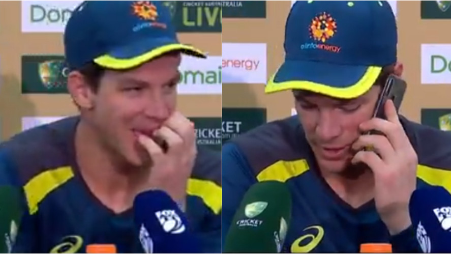 AUS v IND 2018-19: WATCH- Tim Paine answers a journalist's phone call in middle of press conference