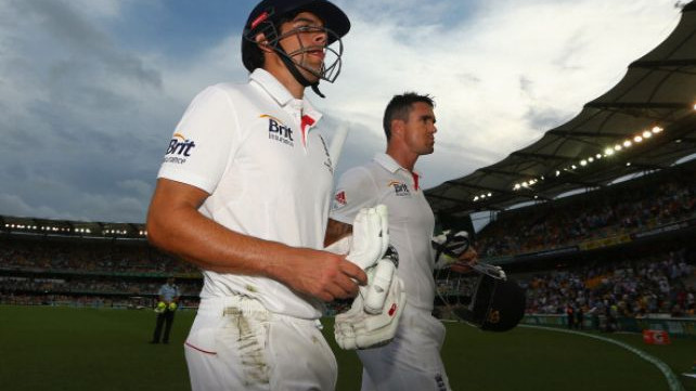 Kevin Pietersen congratulates Alastair Cook on a brilliant international career