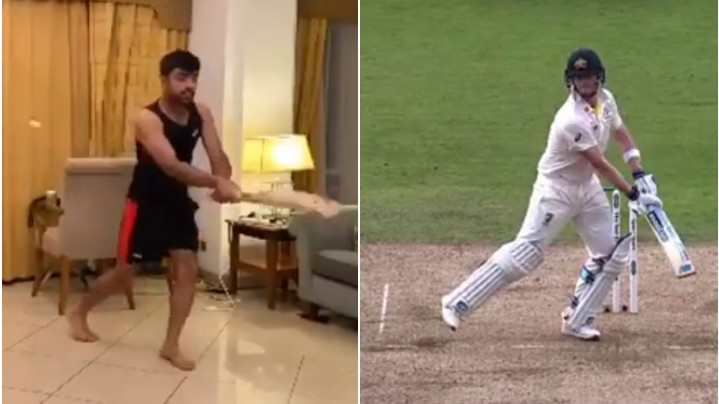 IPL 2020: WATCH - Rashid Khan imitates Steve Smith's batting; Rajasthan Royals respond