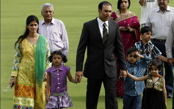 VVS Laxman with his family during his farewell at the Hyderabad stadium in 2012