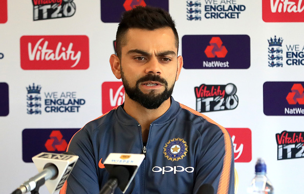 Virat Kohli during the press conference on the eve of the 1st T20I against England | GETTY