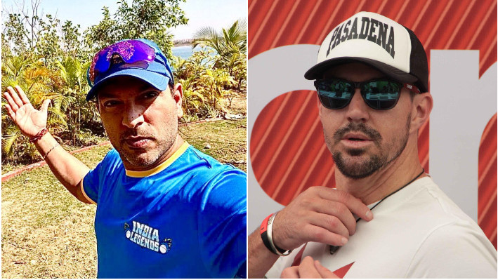 Kevin Pietersen engages in a banter with Yuvraj Singh ahead of Road Safety World Series