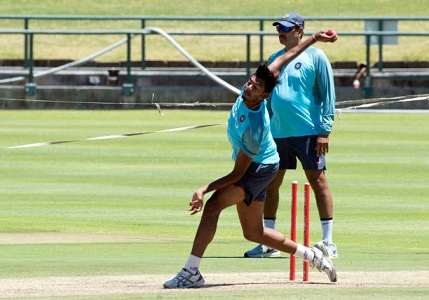 Jasprit Bumrah bowls at net in Cape town | Getty Images
