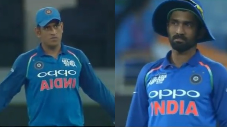 WATCH: MS Dhoni gets upset with Dinesh Karthik's unwanted throw costing India a run
