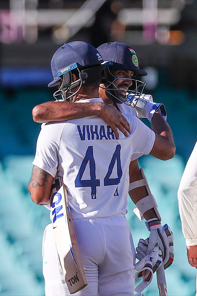 Ashwin and Vihari hug after earning a brilliant draw for India | Getty