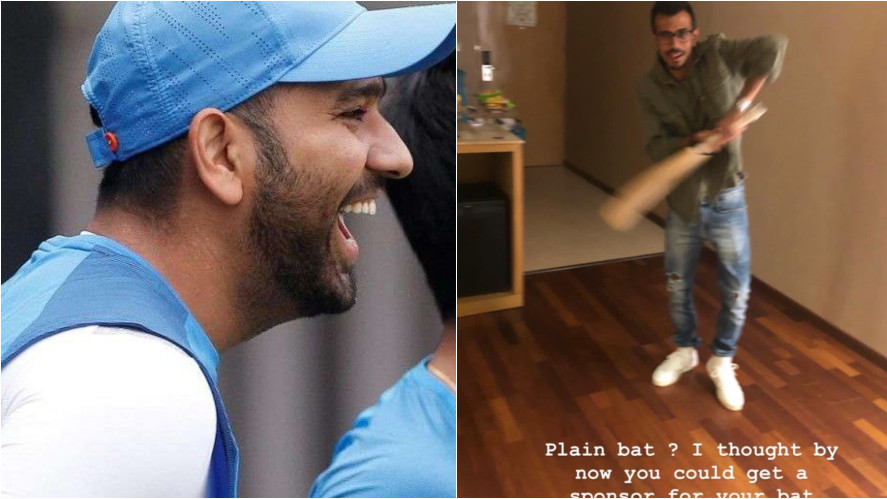 Rohit Sharma takes a jibe at Yuzvendra Chahal for not having a sponsor for his bat