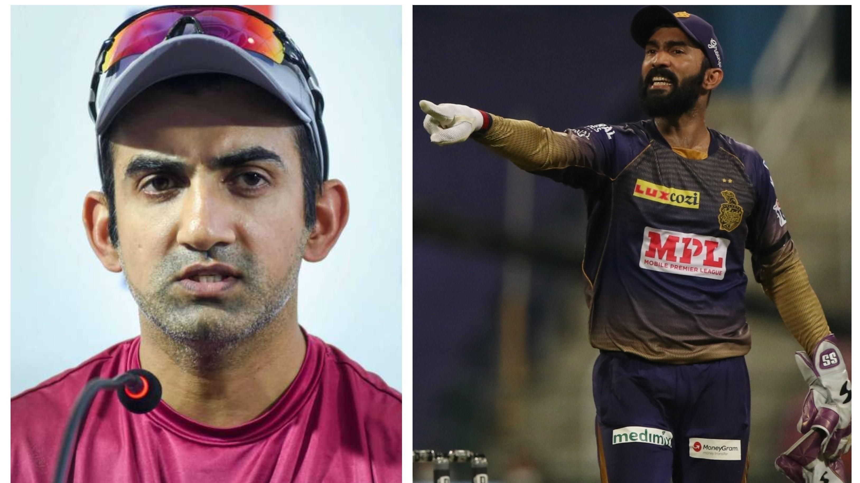 IPL 2020: Gautam Gambhir slams Dinesh Karthik for relinquishing KKR captaincy to focus on his batting