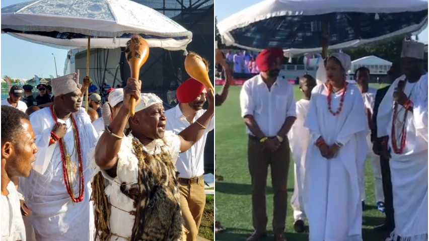 GT20 Canada 2019: WATCH - Bizarre scenes as the Nigerian King gives blessings on the ground