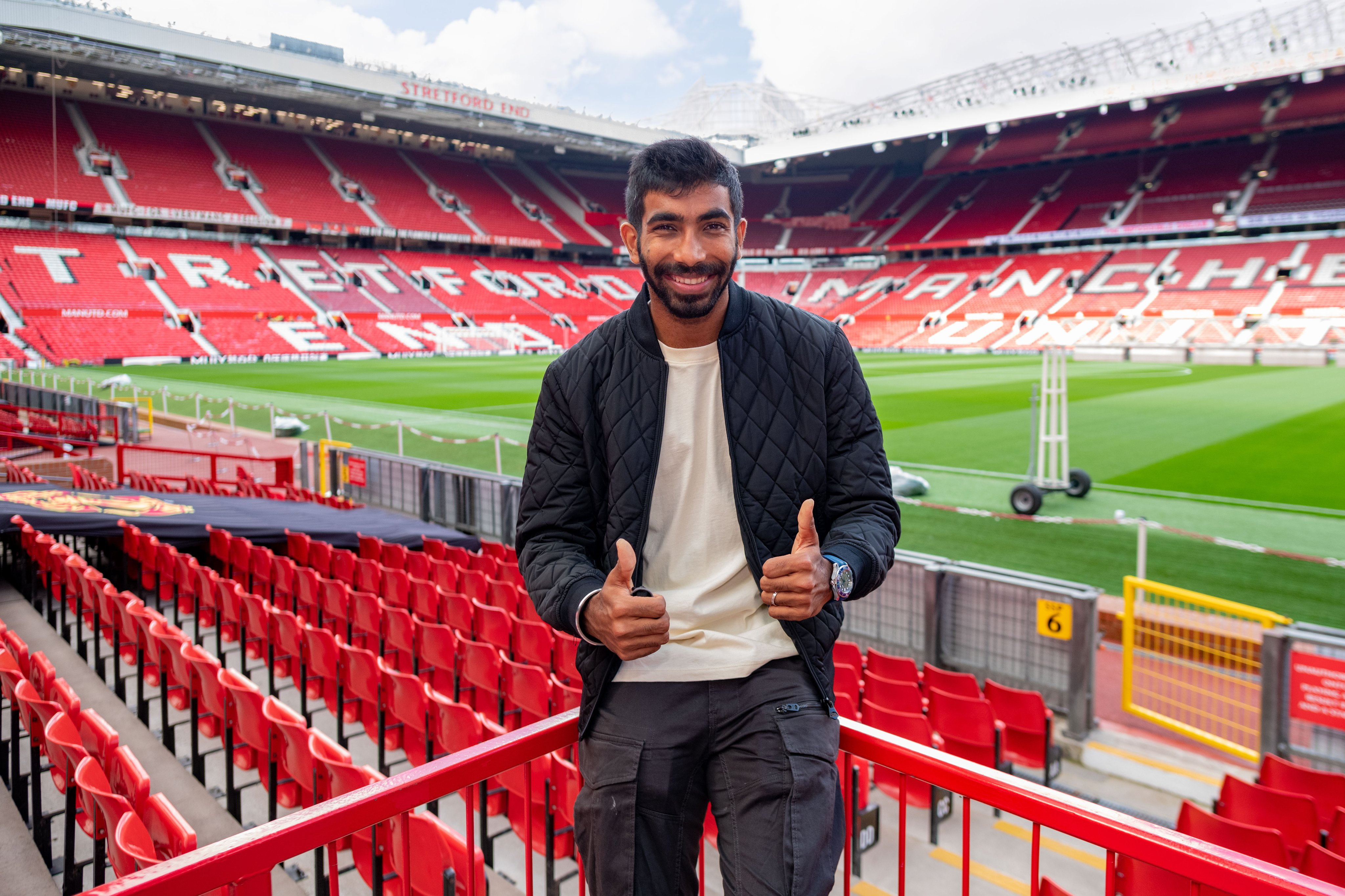 Jasprit Bumrah in Manchester United's home ground in Old Trafford | Twitter