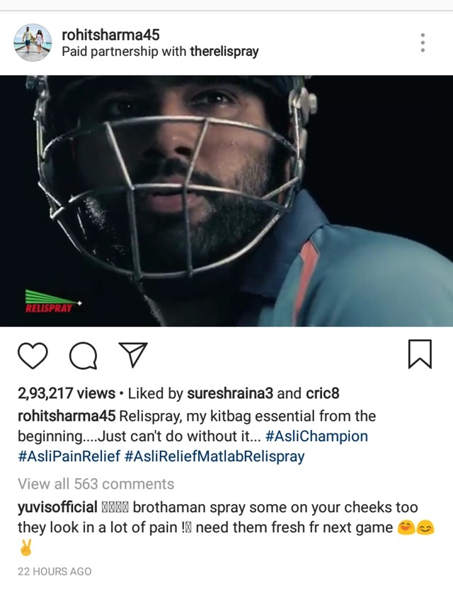 Yuvraj's comment | Source Instagram