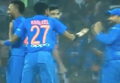 Khaleel Ahmed was exuberant in his celebration | Screengrab