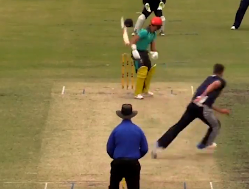 Weatherald could not keep a grip on his bat as it slipped out of his hand and hit the wickets | Screengrab