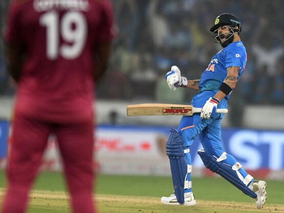Virat Kohli celebrates after winning the first T20I against West Indies | AFP