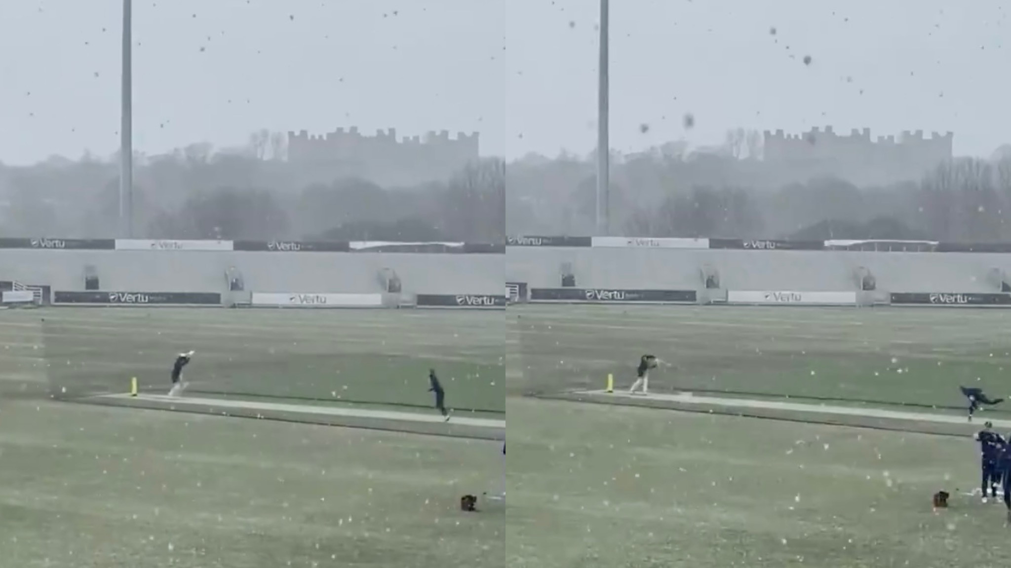 WATCH- Durham cricket club players practice in snowfall ahead of county championship