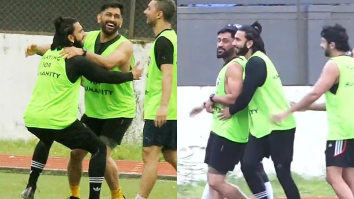 WATCH - MS Dhoni and Ranveer Singh play football together in Mumbai