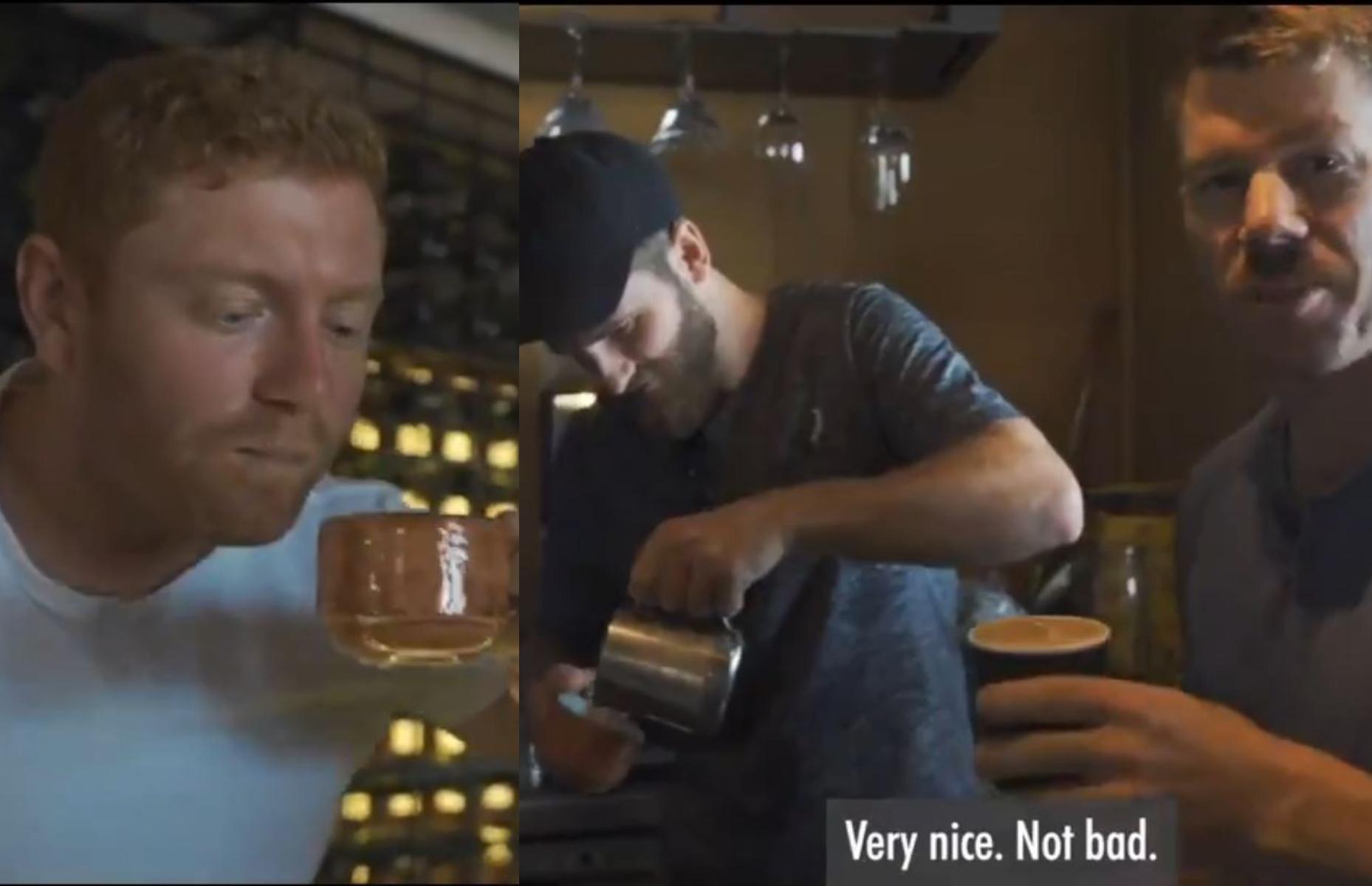 Bairstow and Warner taste Williamson-made coffee | SRH Twitter