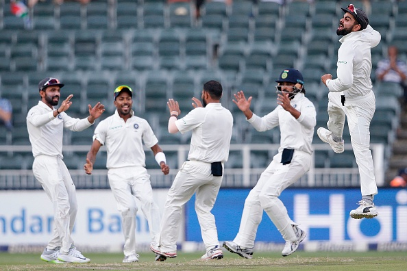 Indian Test team celebrating a wicket against South Africa. | GETTY