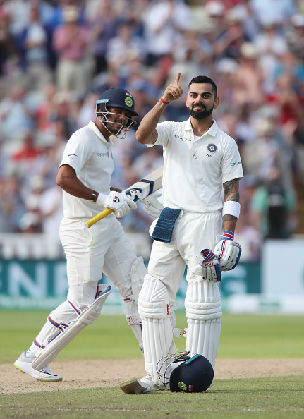 Virat Kohli celebrates his first Test ton on English soil | Getty