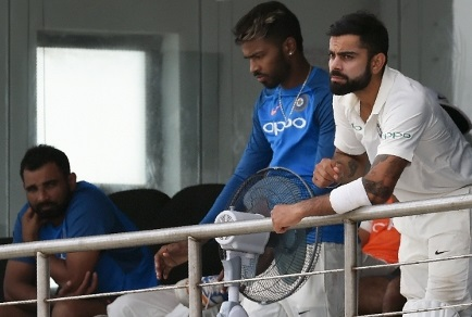 Hardik Pandya with Virat Kohli and Mohammad Shami | GETTY