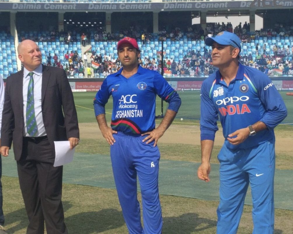 MS Dhoni tosses the coin against Afghanistan in his 200th ODI as India Captain | Getty