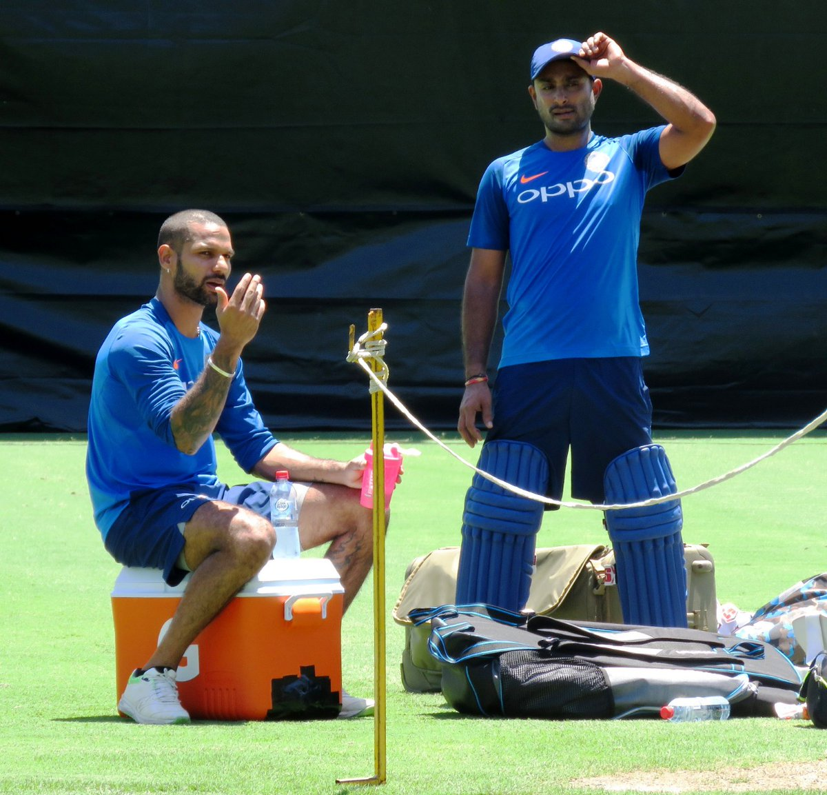 Shikhar Dhawan and Ambati Rayudu during the optional practice session | Twitter