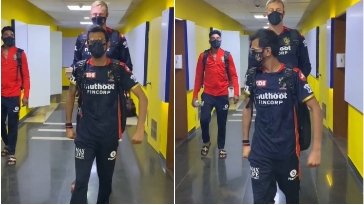 IPL 2021: WATCH - Yuzvendra Chahal funnily leads 6'8 feet tall Kyle Jamieson with The Undertaker's entrance music