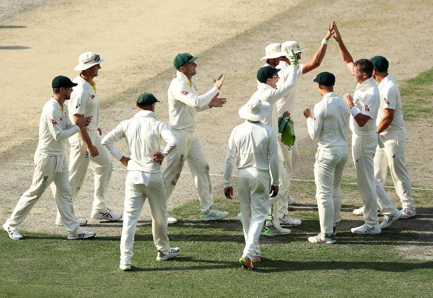 Siddle celebrates Mohammad Hafeez's wicket with teammates | Getty Images