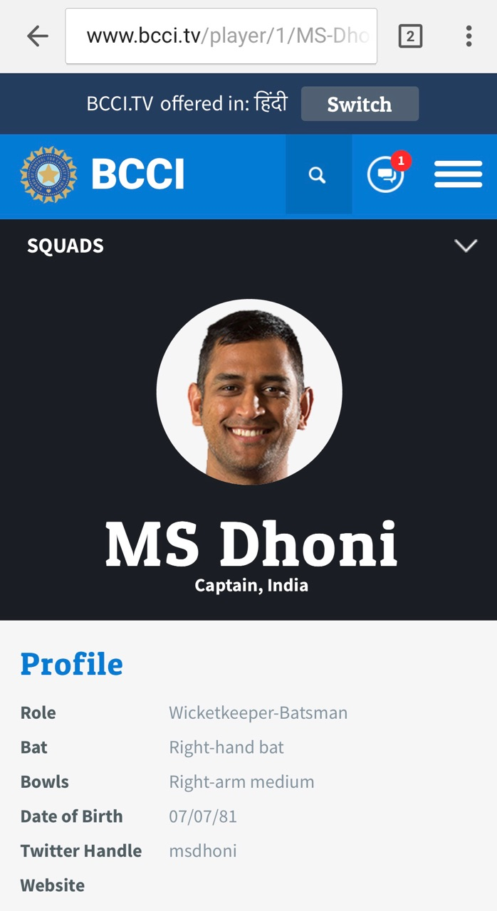 MS Dhoni's profile on BCCI's official website bcci.tv