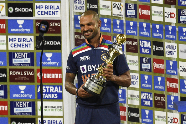 Shikhar Dhawan poses with the ODI series trophy | Getty