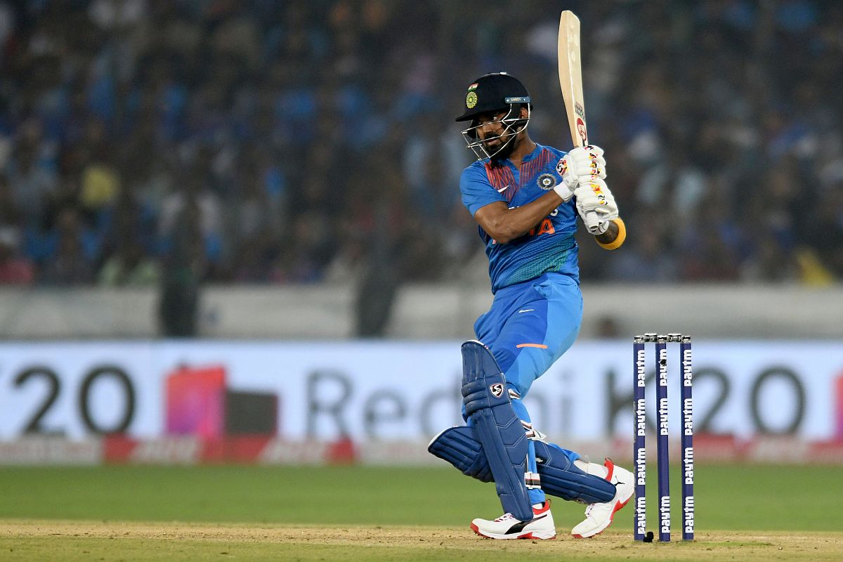 KL Rahul hit a breezy 62 in Hyderabad T20I | AFP