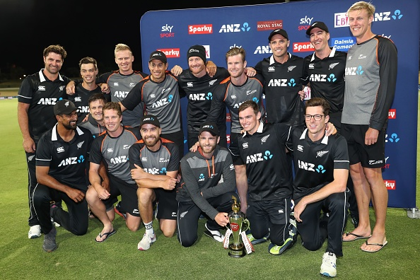 Kiwi players pose with the trophy after winning the ODI series against India | Getty