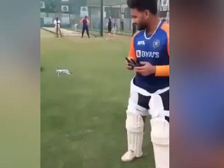 Rishabh Pant flying the drone | Screengrab