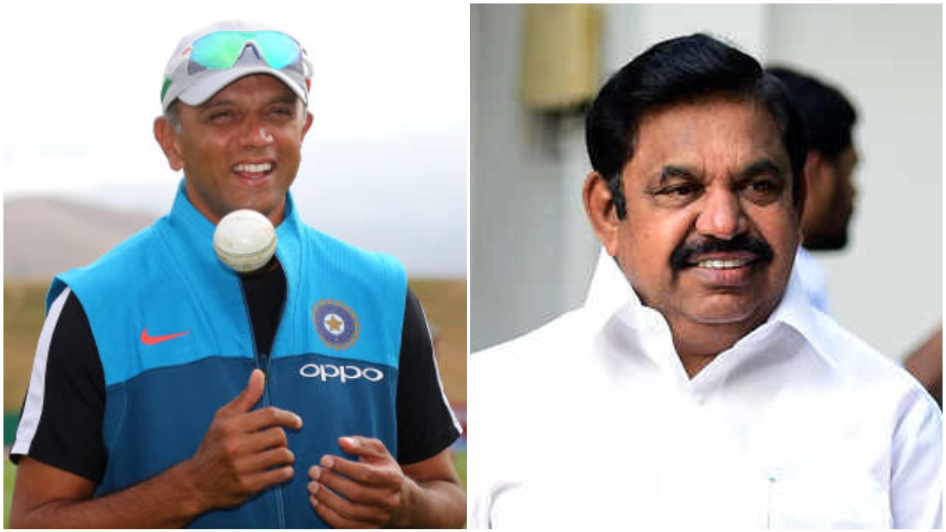 राहुल द्रविड़ ने क्रिकेट स्टेडियम के उद्घाटन पर तमिलनाडु के मुख्यमंत्री पलानीस्वामी को कराई गेंदबाजी