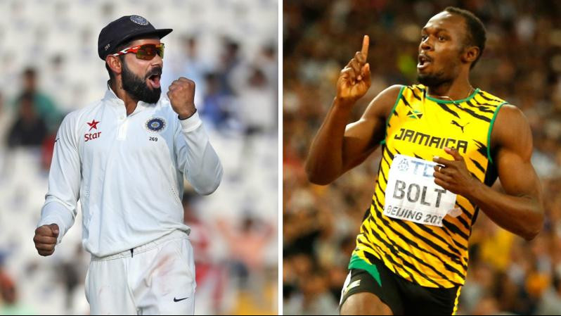 Virat Kohli comes up with a challenge for Usain Bolt, sprinter puts his favourite spikes at stake