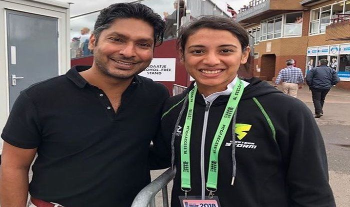 Smriti Mandhana poses for a click with Kumar Sangakkara | Instagram