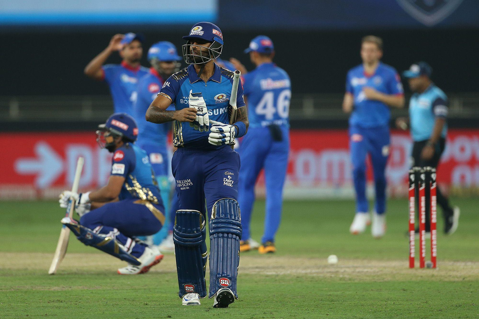 A dejected Suryakumar Yadav walks off after getting run-out   BCCI/IPL