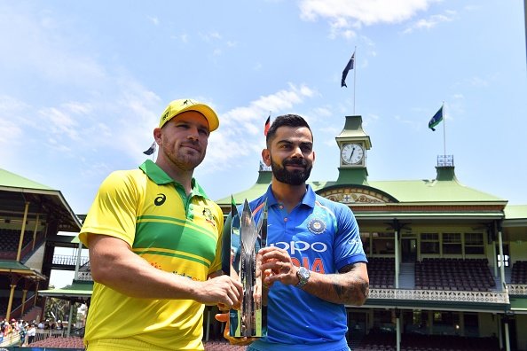 Aaron Finch and Virat Kohli pose with the trophy ahead of the ODI series | Getty Images