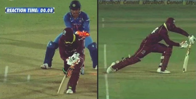 MS Dhoni stumps Keemo Paul in the 4th ODI | Screengrab