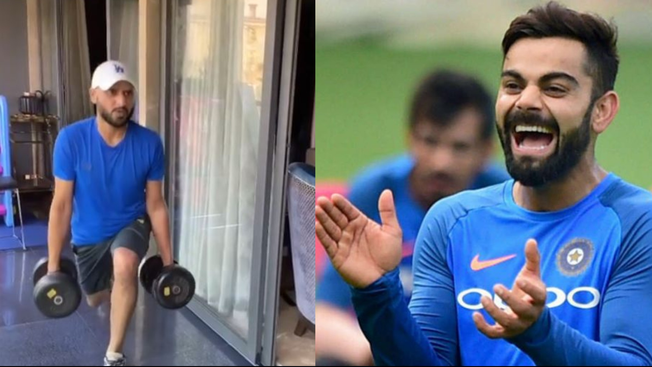 "WATCH- ""Building kaanp rahi haa paaji,"" Kohli makes fun of Harbhajan Singh's workout video"