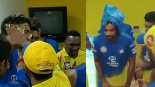 WATCH: Stephen Fleming and Murali Vijay get a cake facial on their birthday