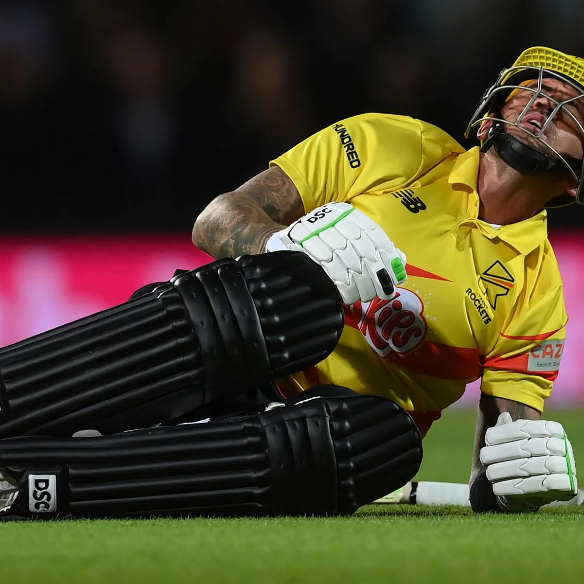 Alex Hales in pain after getting his plums smashed   Twitter