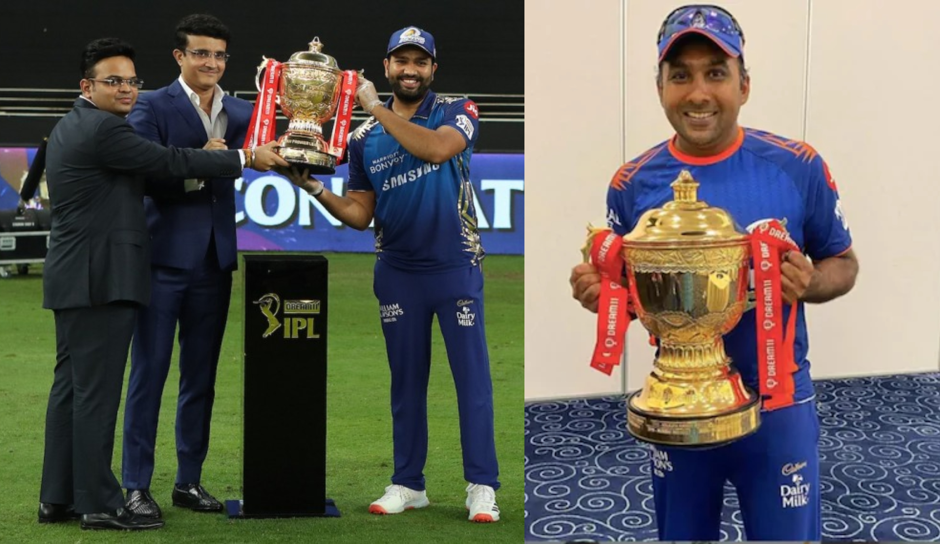 Rohit Sharma and Mahela Jayawardene with Dream11 IPL 2020 trophy | BCCI/IPL