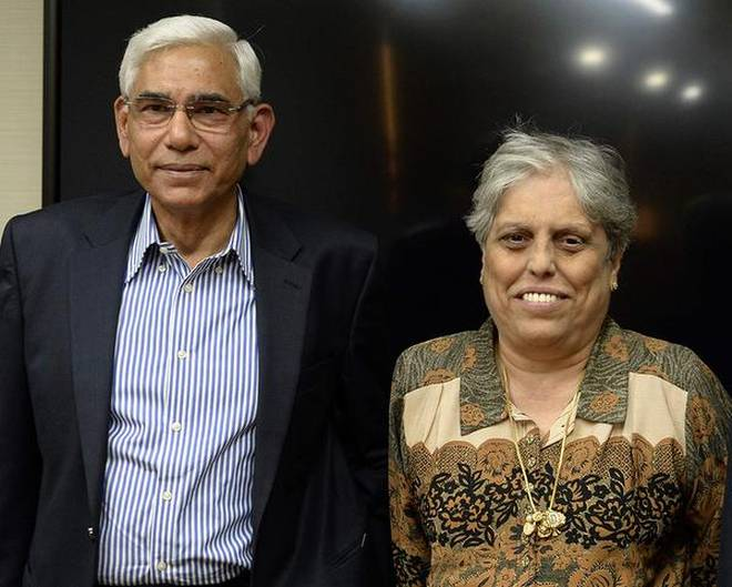 CoA members Vinod Rai and Diana Edulji | AFP