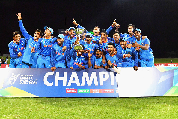 India U-19 team with the coveted World Cup trophy (Pic. source: Getty)